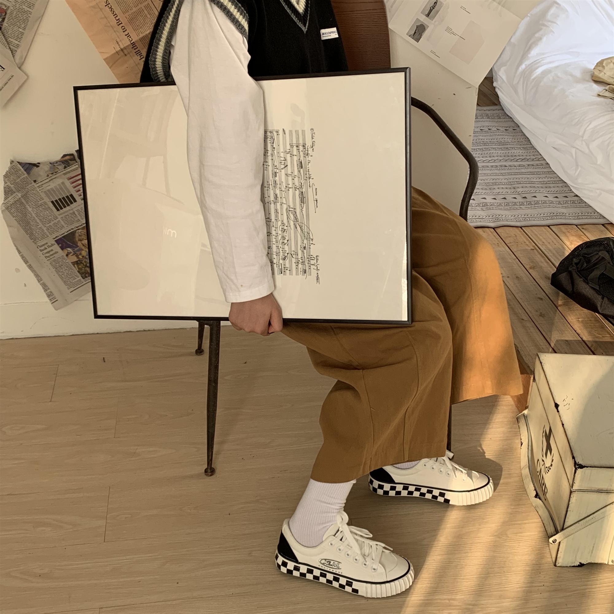 百搭秋季学生韩版帆布鞋小白鞋 ins 印花 3D 象征许刘芒成员身份
