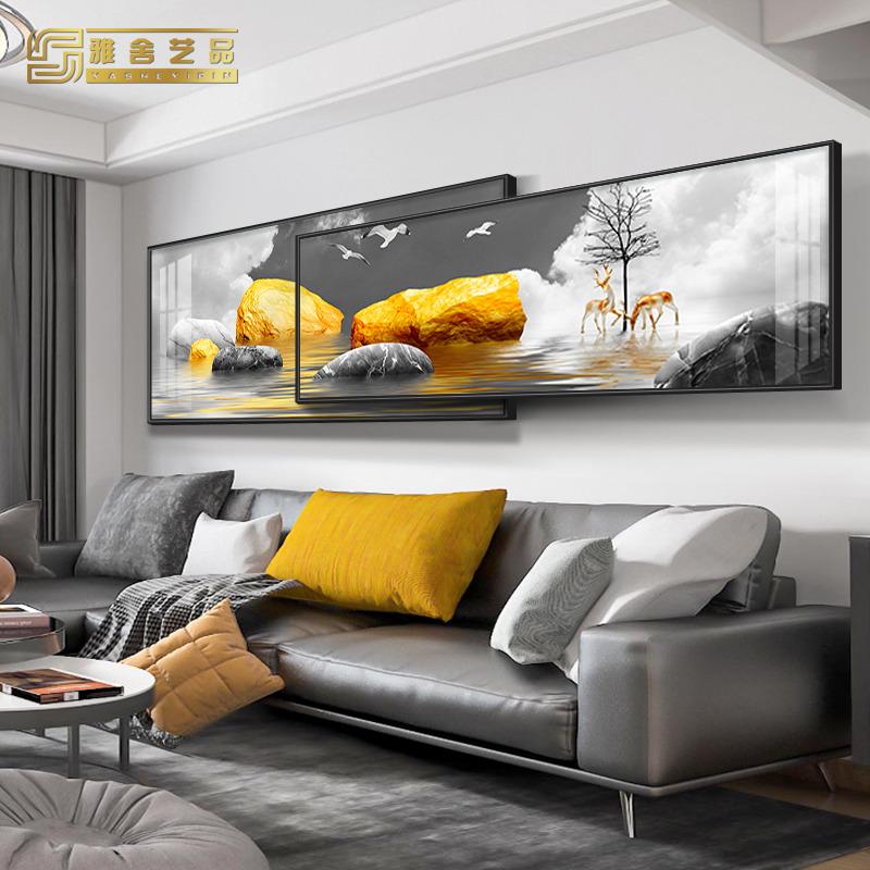 新中式客厅装饰画沙发背景墙现代大厅卧室横版叠加大气简约挂画