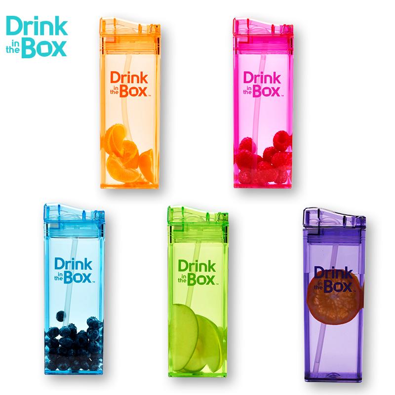 Drink in the Box加拿大彩色果汁盒儿童防摔方形吸管冷饮杯 355ml
