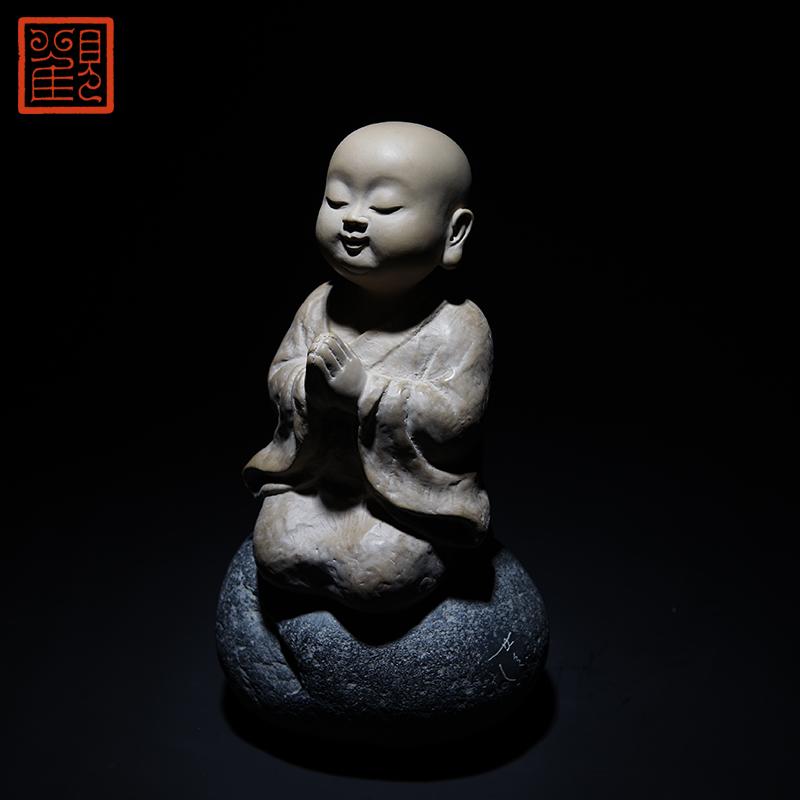 台湾铁丸石收藏工艺佳品 观复博物馆林昭发纯真小沙弥石雕摆件