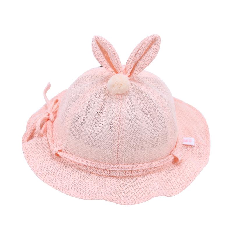 婴儿帽子夏季薄款遮阳帽3-6-12个月女宝宝太阳帽可调节公主渔夫帽
