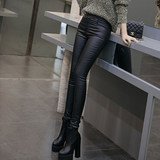 High-waisted velvet autumn and winter outer wear thin female bottoming tight leather pants big yards ladies section was thin stretch pencil pants feet