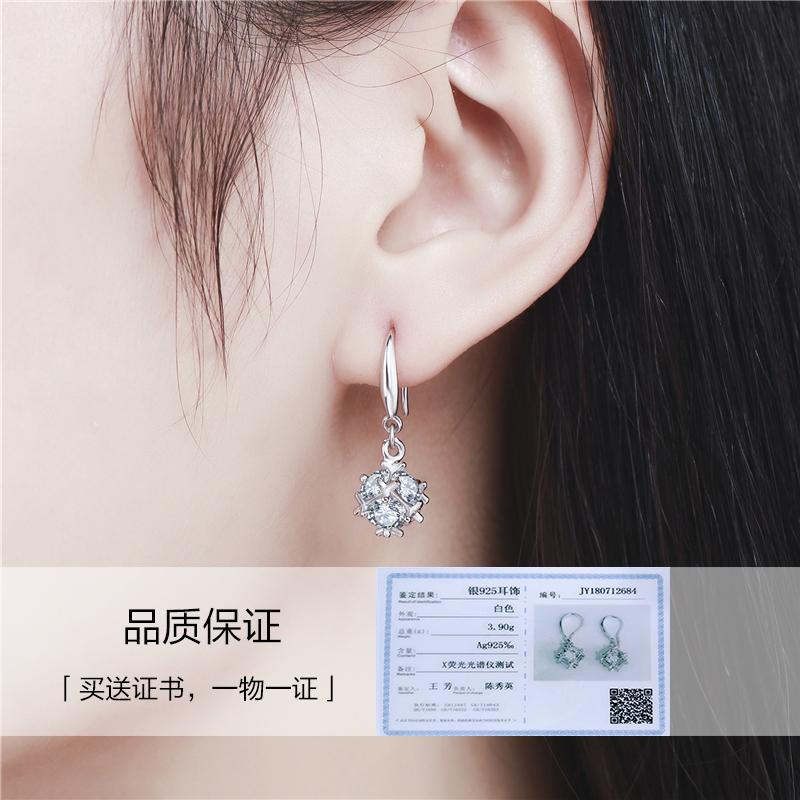 银唯源S925耳环耳钉女耳坠长款日韩国气质合成水晶钻耳环耳饰品