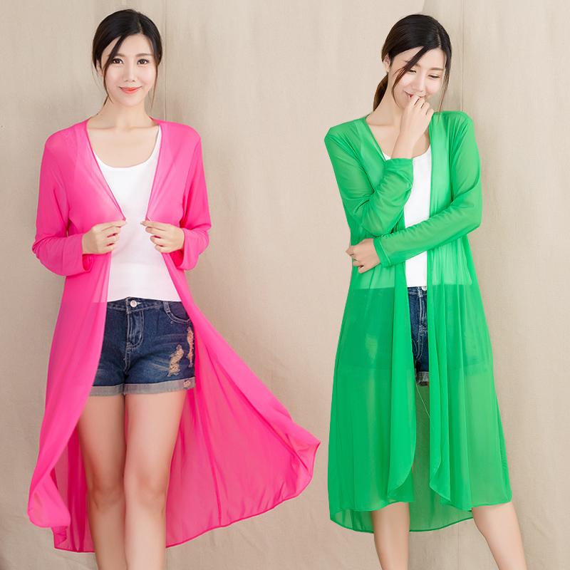 防晒衣女空调开衫夏超薄蕾丝中长款透气披肩外套冰丝网纱外搭大码