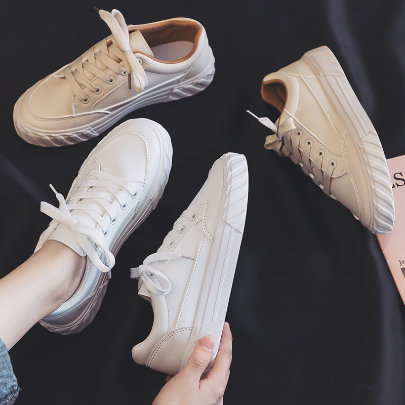 夏季新款夏款透气小白鞋女韩版学生百搭帆布潮鞋白鞋休闲板鞋 2019