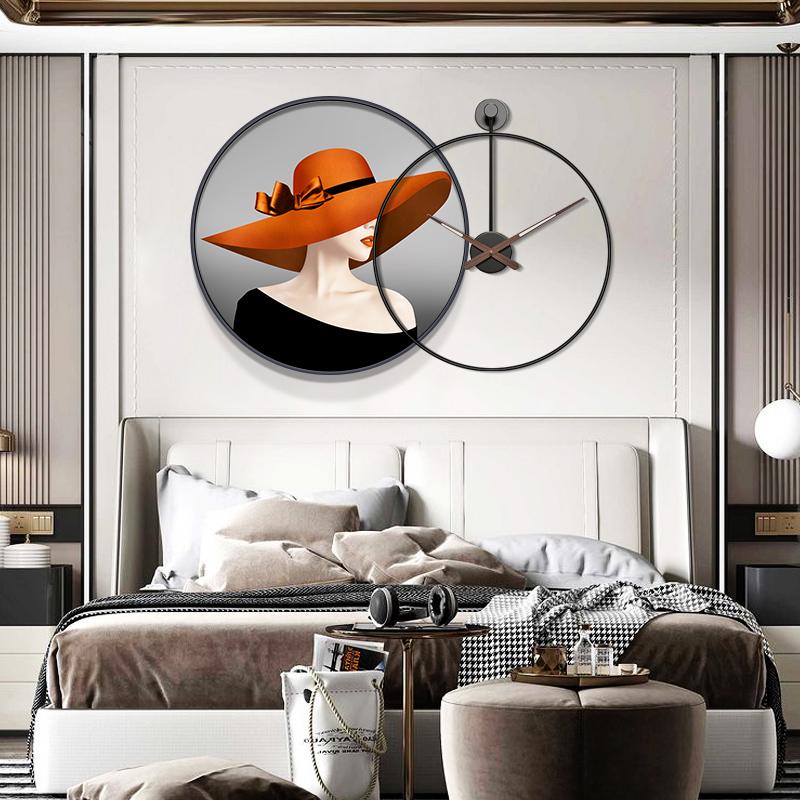 个姓挂钟餐厅装饰画人物现代抽象卧室床头挂画客厅沙发背景墙壁画