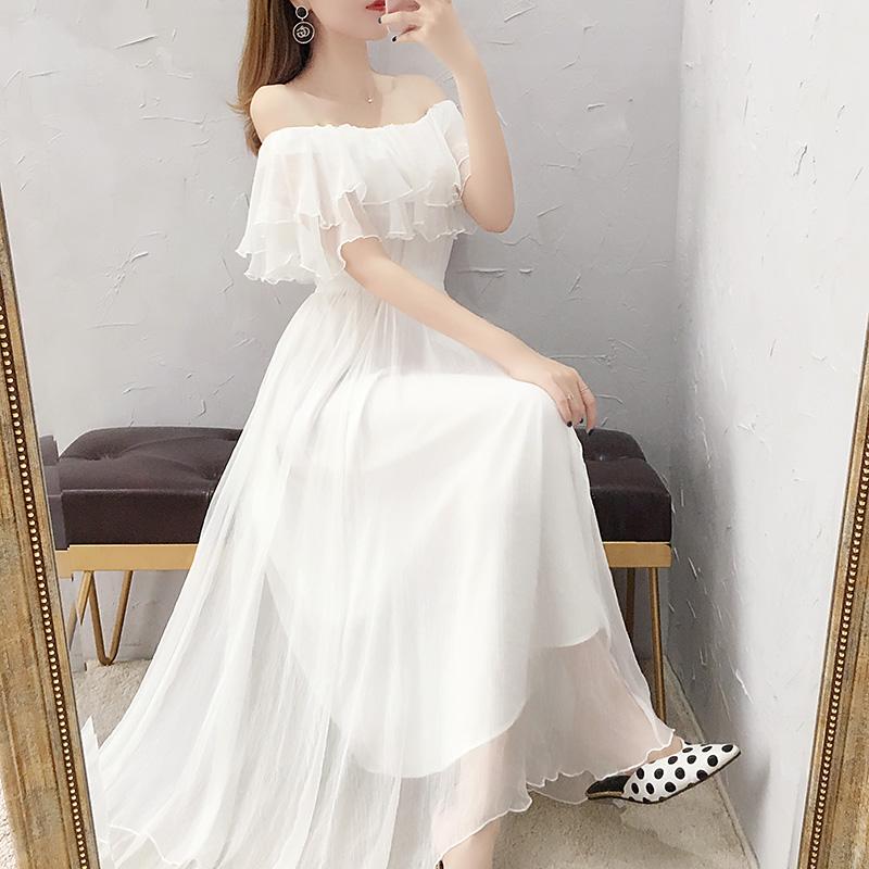 超仙一字肩白色雪纺连衣裙女夏季长款2021年流行新款显瘦裙子夏天