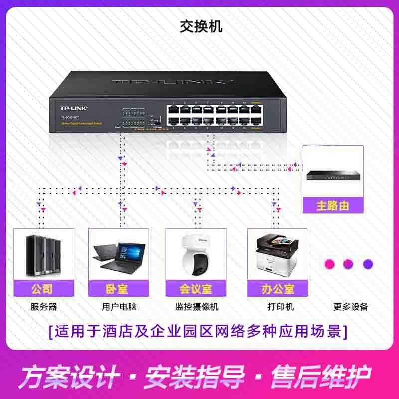 TP-LINK 16口全千兆交换机TL-SG1016DT桌面式1000M网络监控以太网