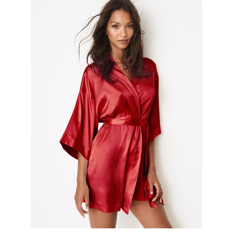 加88享烫印 维密 缎面冰丝睡袍薄款女 浴袍晨袍 VS 10895252