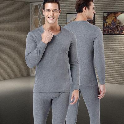 男士加绒保暖内衣秋冬季纯棉秋衣秋裤纯色修身打底青中年保暖套装