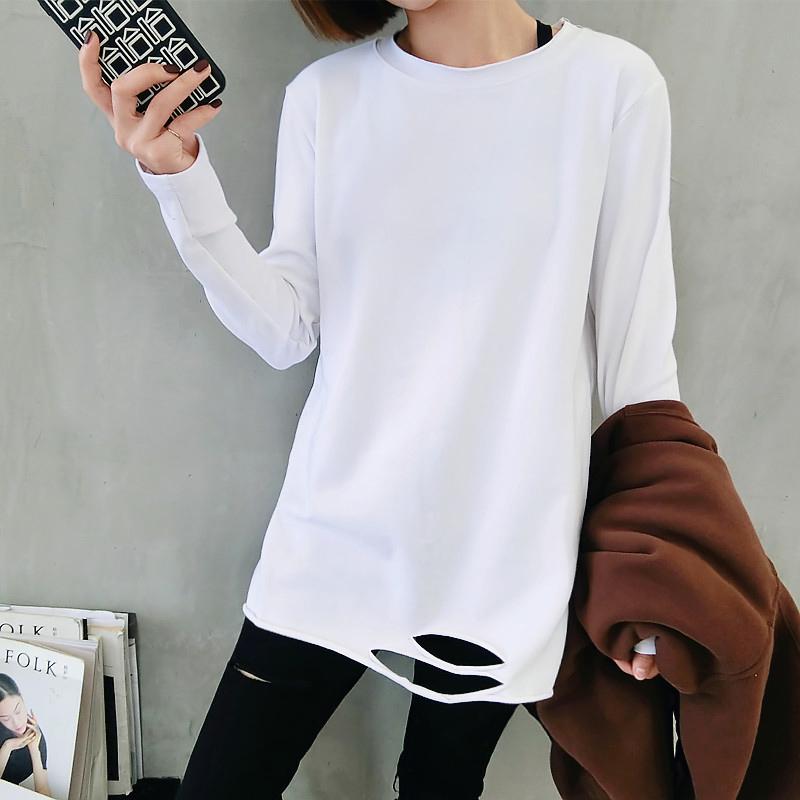 白色打底衫女内搭2020新款长袖t恤女米奇体恤破洞中长款春秋上衣