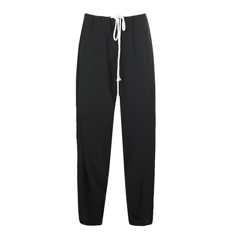 黑色高街运动休闲裤女高腰绑带束脚百搭设计跑步健身跳舞长裤夏季