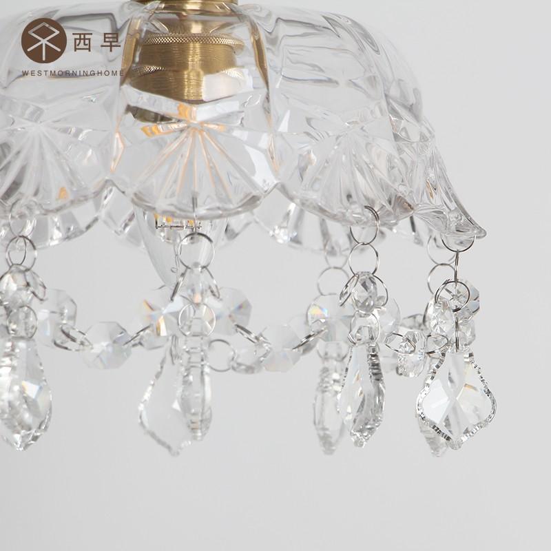 简约现代床头阳台水晶灯过道玄关走廊灯 复古黄铜玻璃小吊灯 西早