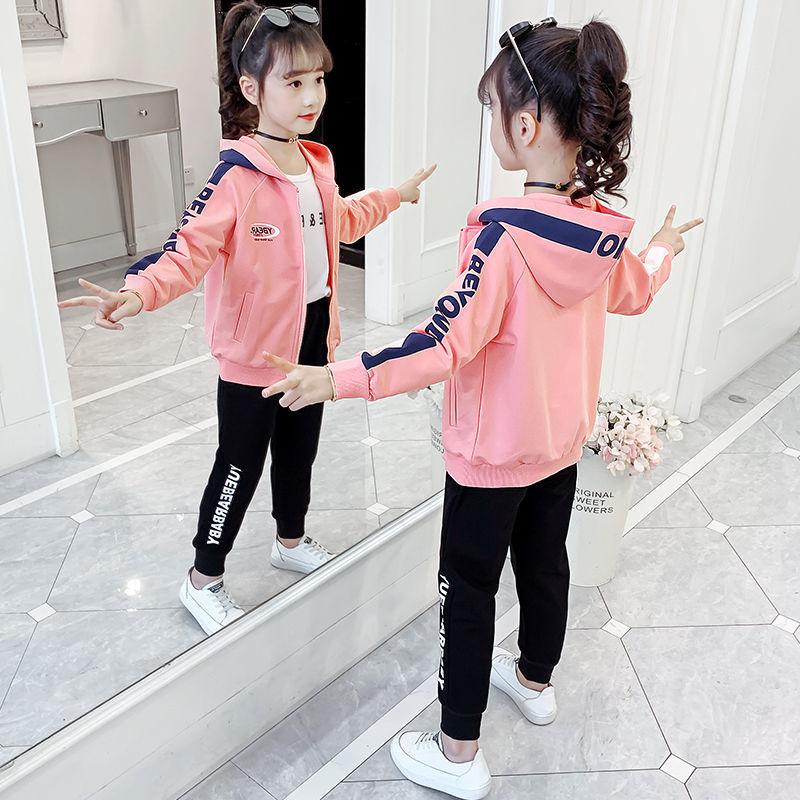 25女童网红套装2021新款春秋学装儿童时尚运动大童学生休闲两件套