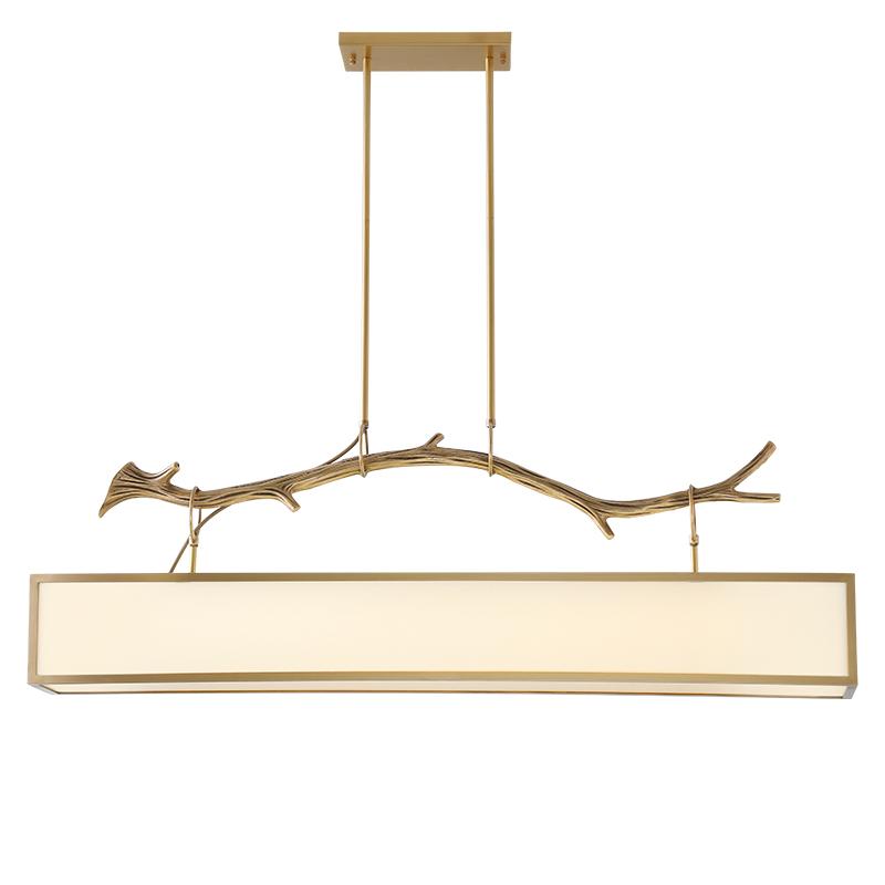 仿古灯具 LED 现代中式餐厅吊灯长方形新中式书房全铜设计师创意