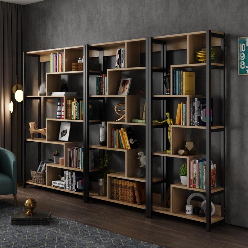 简约多层钢木落地书架置物架办公室隔断展示架儿童学生简易书柜