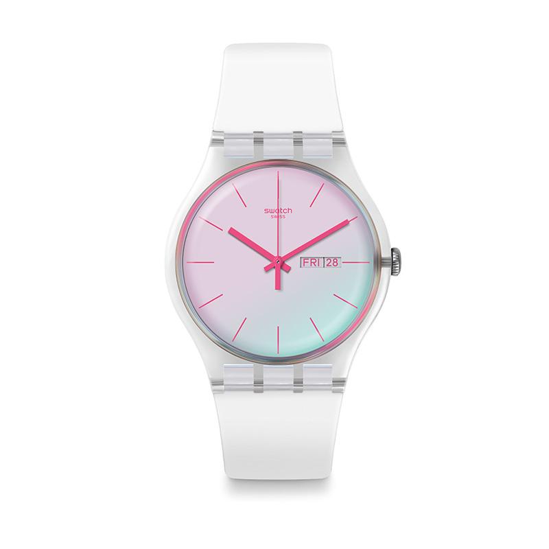 年秋冬新品炫白极光石英男女表 SUOK713 Swatch 19 斯沃琪瑞士手表