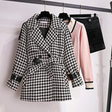 Houndstooth woolen coat two-piece suit 2019 autumn dress with tall female light mature autumn and winter temperament was thin