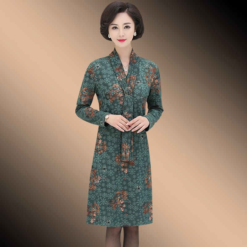 妈妈秋装连衣裙40岁50中年女士洋气高贵春秋季中老年女装长袖裙子