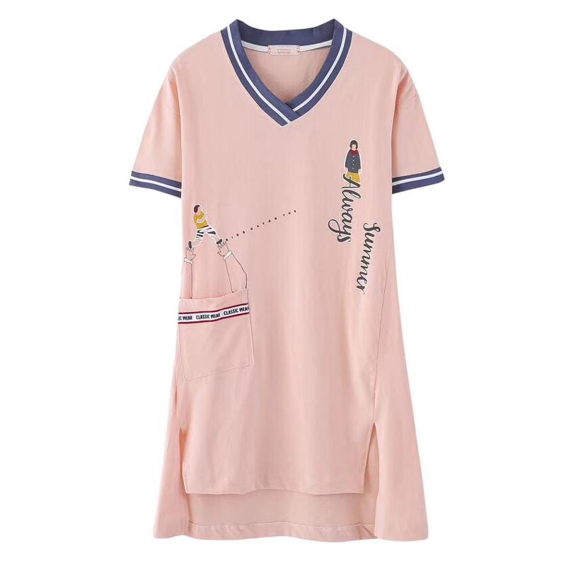 南极人睡裙女夏季纯棉短袖睡衣2021年新款甜美可爱家居服连衣裙薄主图
