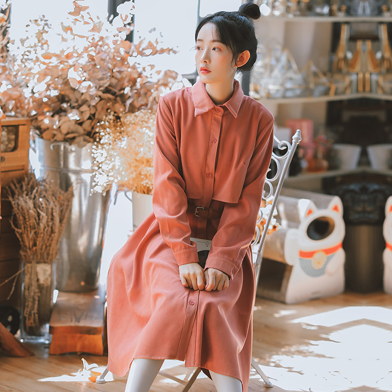秋冬2020年新款法式复古长袖连衣裙女收腰显瘦气质衬衫裙打底长裙