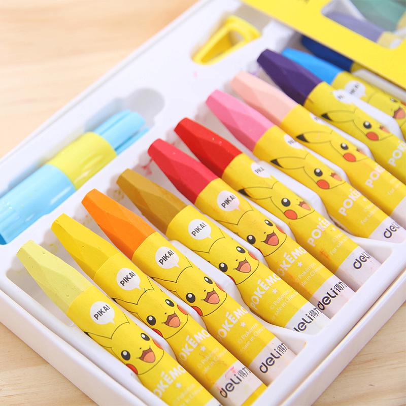 得力皮卡丘儿童油画棒幼儿彩色蜡笔带延长器六角形绘画棒画画笔