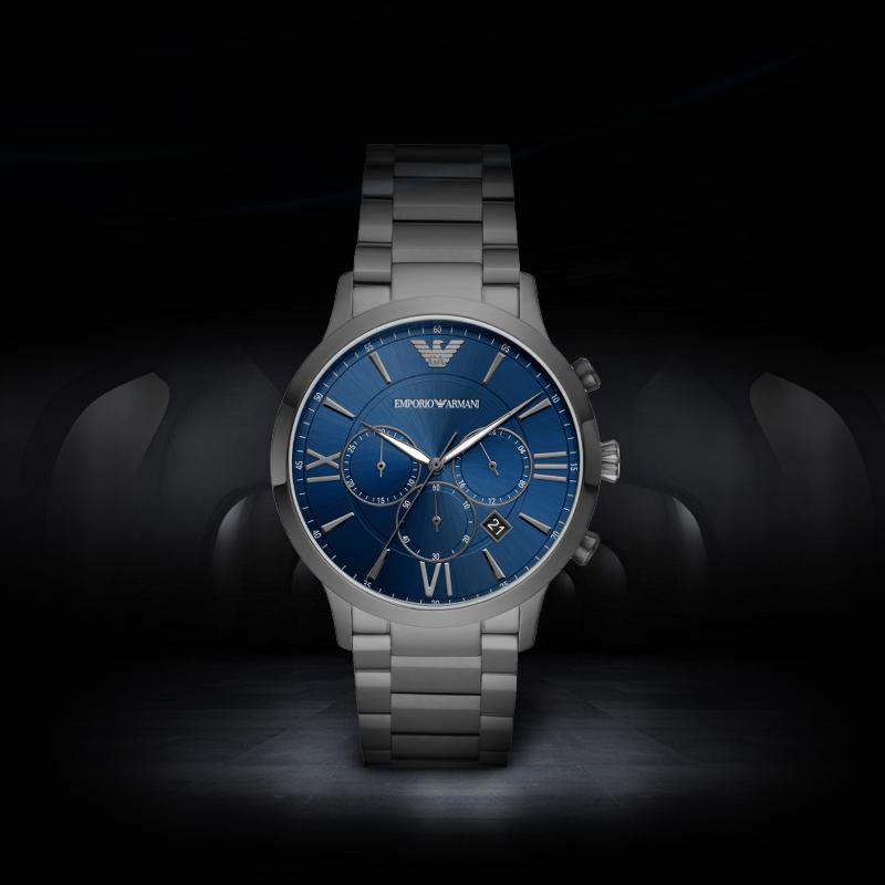 Armani阿玛尼男士手表 新款蓝色防水三眼表盘男款时尚腕表AR11348