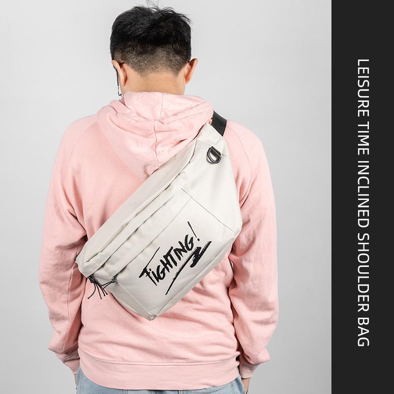 斜挎包单肩包男士胸包新款休闲时尚潮流大容量学生包运动包