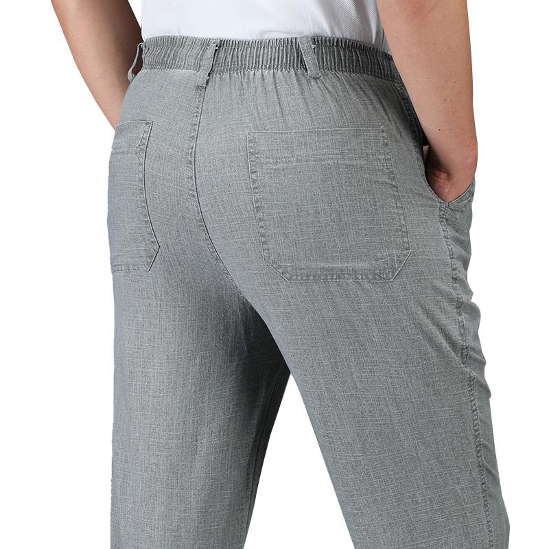 夏款棉麻长裤中老年高腰亚麻透气男裤大码宽松薄款老爹爸爸休闲裤