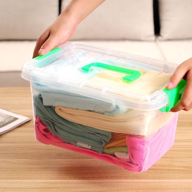 可手提透明收纳箱整理箱塑料箱子有盖大小号手提储物箱衣物收纳盒