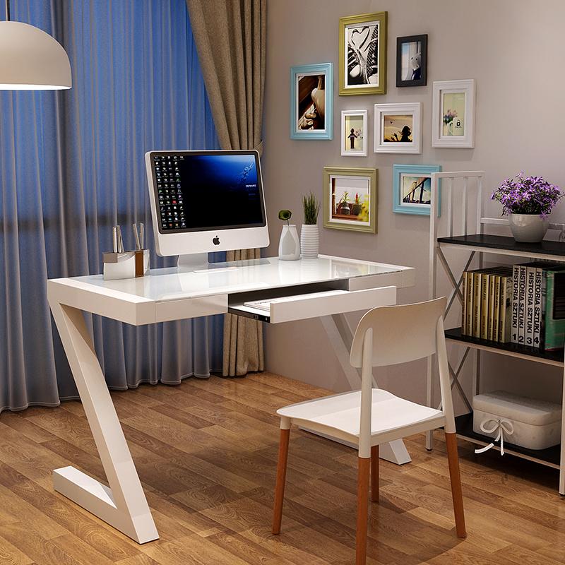 电脑桌台式家用简约现代钢化玻璃卧室书桌带书架空间多功能组合