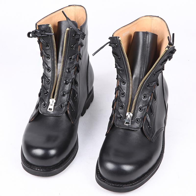3516工厂78夏飞行靴 牛皮高帮皮鞋真皮圆头皮靴高筒工装靴马丁靴高清大图