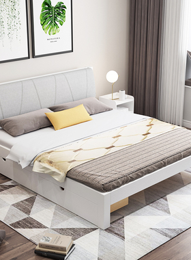 实木床1.5米现代简约双人床1.8m经济型出租房白色单人床1.2米床架