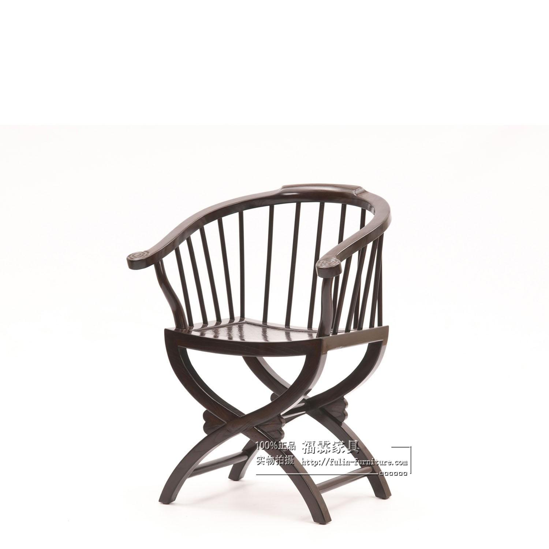 新中式实木做旧交椅子书椅餐椅儿童小圈椅黑白蓝明清古典仿古木椅