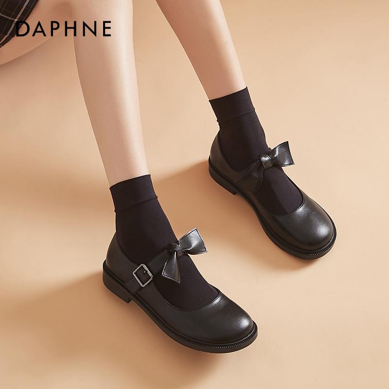 鞋蝴蝶结 Lolita 制服鞋女日系圆头单鞋平底 jk 达芙妮英伦风小皮鞋女