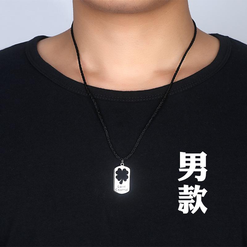 四叶草情侣项链男女一对纯银吊坠简约学生韩版文艺森系锁骨链刻字