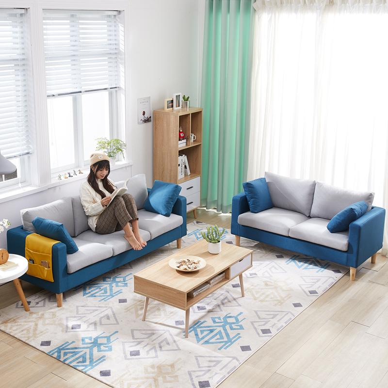 双人沙发小户型客厅整装简约现代卧室北欧经济型1.5米小沙发布艺