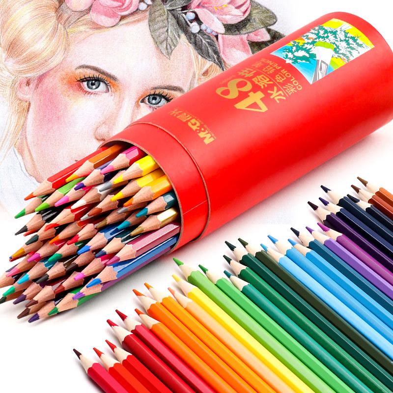 晨光彩色铅笔水溶性彩铅画笔彩笔专业画画套装成人手绘48色初学者36色学生用72色水溶款填色彩铅笔儿童油24色