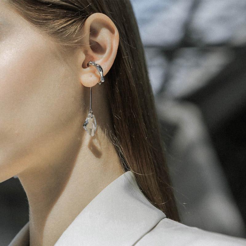 小众设计不规则水晶耳环耳挂耳夹无耳洞女高级感饰品气质 KVK