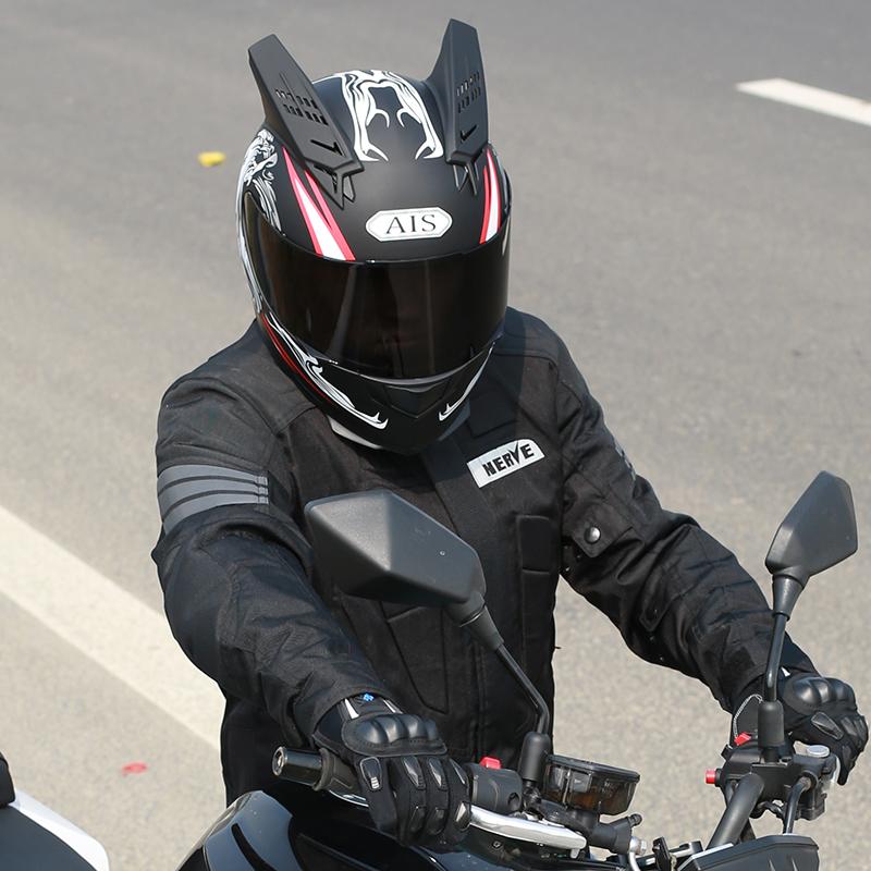 艾狮男女士电动摩托车头盔个性酷全盔覆式冬季安全帽机车赛车犄角