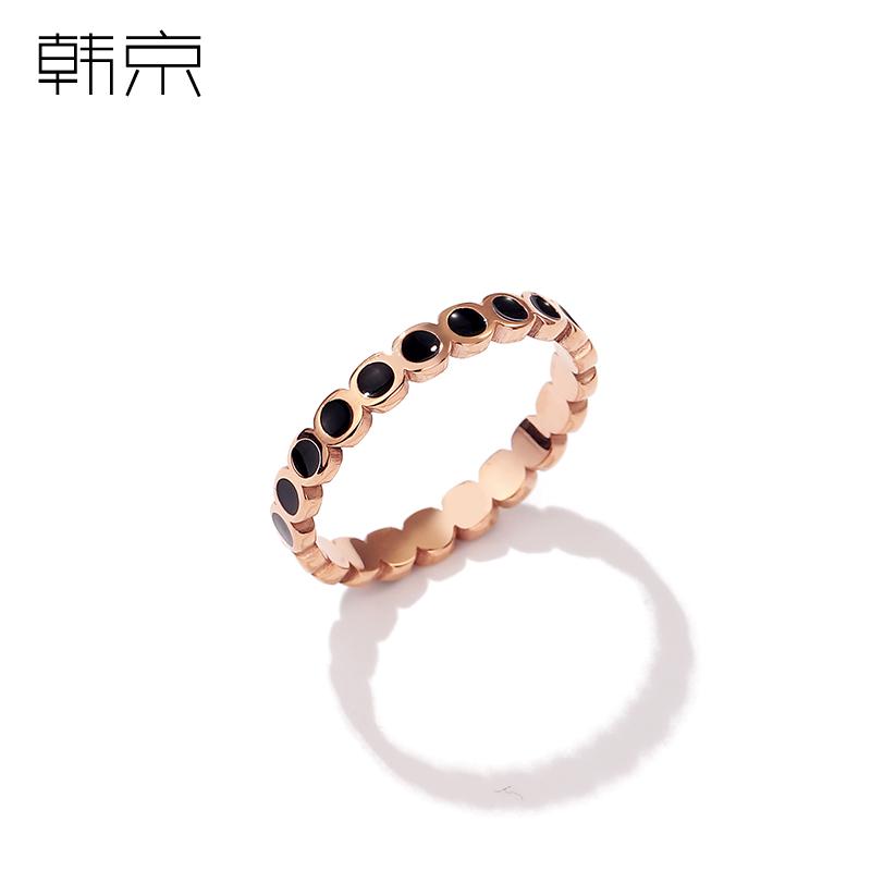 韩京小众设计戒指女时尚个姓韩版网红食指戒指环潮人钛钢装饰戒子