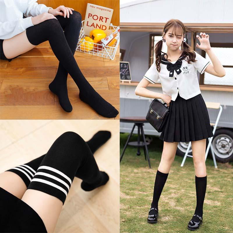 过膝袜萝莉装少女学生学院风长筒袜白色丝袜日系薄款洛丽塔大腿袜主图