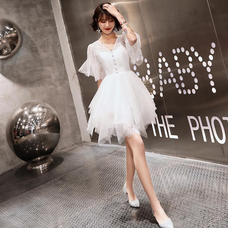洋装小礼服女2019新款夏季宴会高贵气质白色短款伴娘服仙女系简约