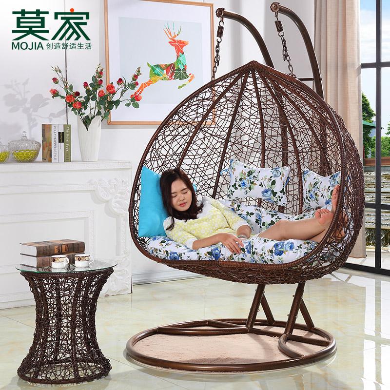 莫家吊篮藤椅双人室内鸟巢成人户外秋千阳台懒人摇篮椅吊椅吊篮