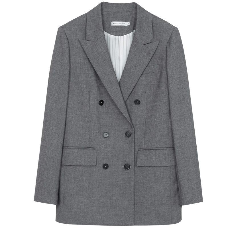 春秋新款宽松休闲时尚气质网红小西服上衣 2020 灰色西装外套女韩版
