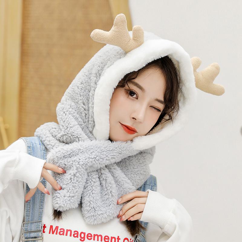 帽子女秋冬季网红款可爱韩版防风冬天护耳保暖手套三件套围巾一体