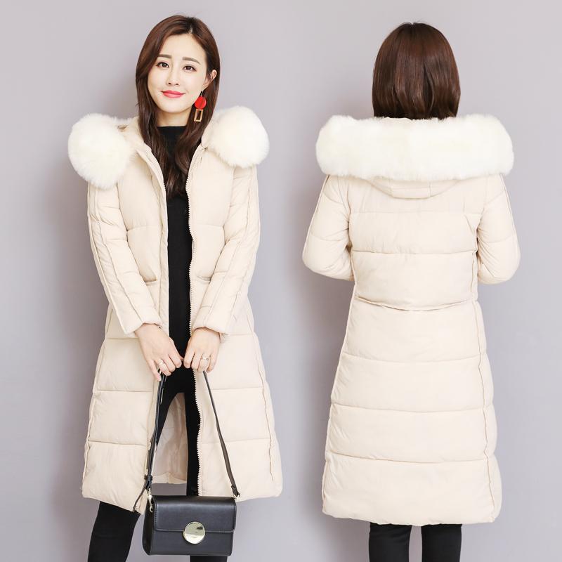 羽绒棉服女中长款2018冬新款韩版棉衣女反季大码修身过膝棉袄外套