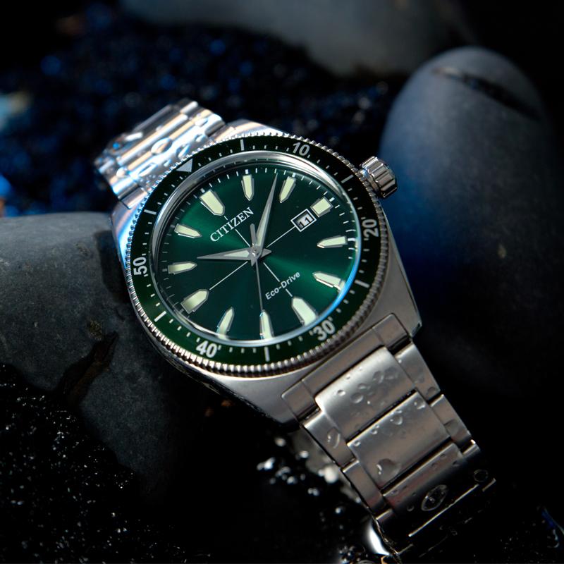 西铁城光动能绿色水鬼手表,送男朋友老公时尚轻奢礼物