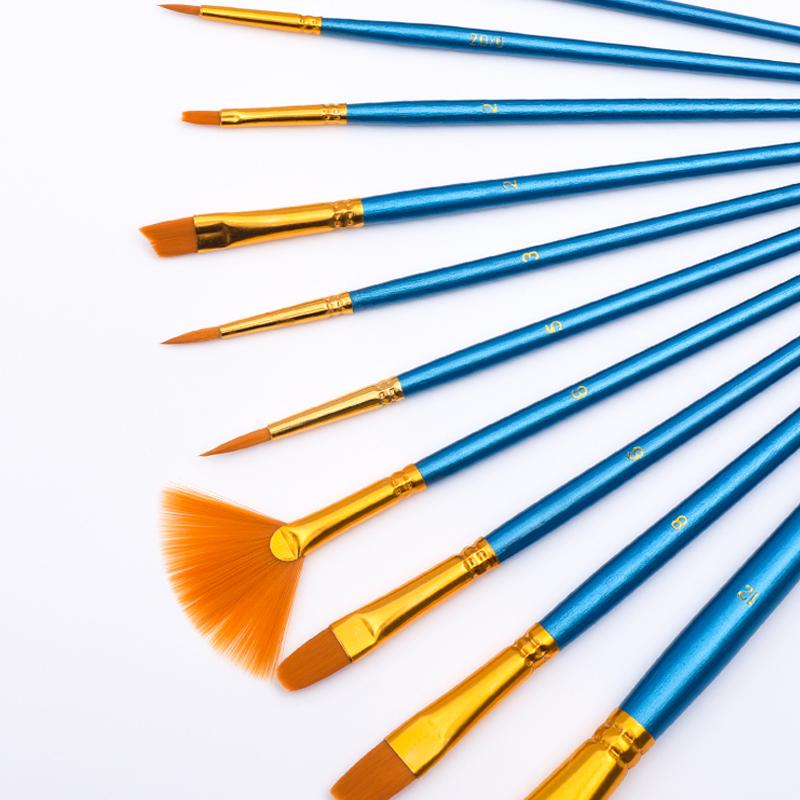 狼毫水粉颜料画笔套装尼龙毛水彩油画丙烯学生用美术专用扇形排笔