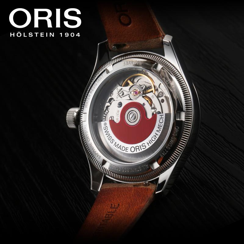 ORIS豪利时航空系列大表冠浅绿盘皮带指针式自动机械腕表